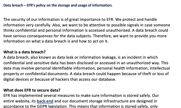 EFR's policy on a data breach