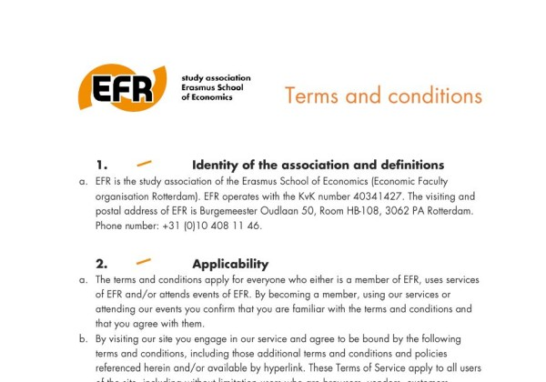 Terms and conditions EFR